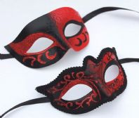 Red and Black Couples Masks